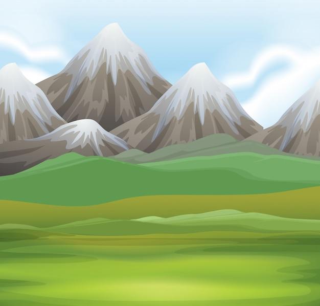 Fond de scène de nature du champ et des montagnes Vecteur gratuit