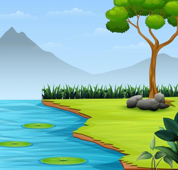 Le fond de scène de nature avec lac et montagne Vecteur Premium