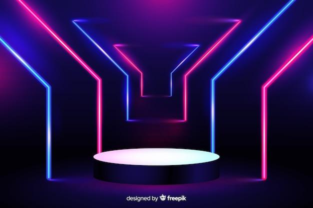Fond de scène de néons vibrants Vecteur gratuit