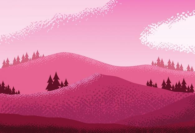 Fond de scène paysage nature rose Vecteur Premium