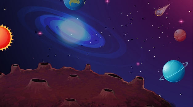 Fond de scène planète système solaire Vecteur gratuit