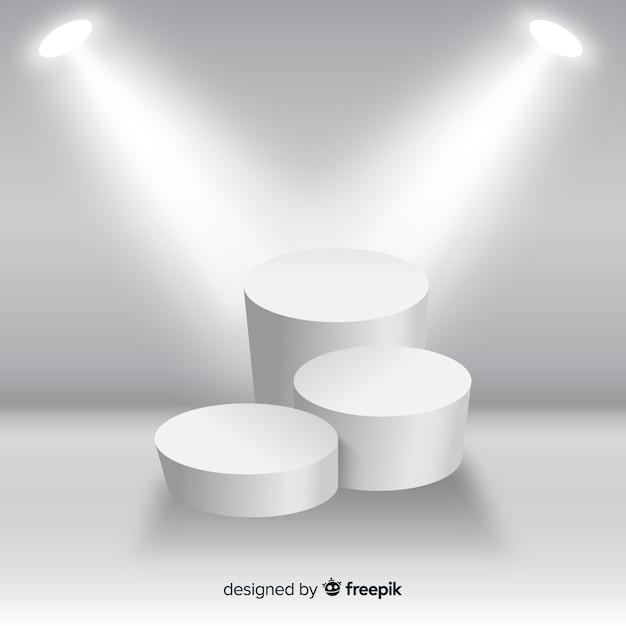 Fond de scène de podium dans une salle blanche avec éclairage Vecteur gratuit