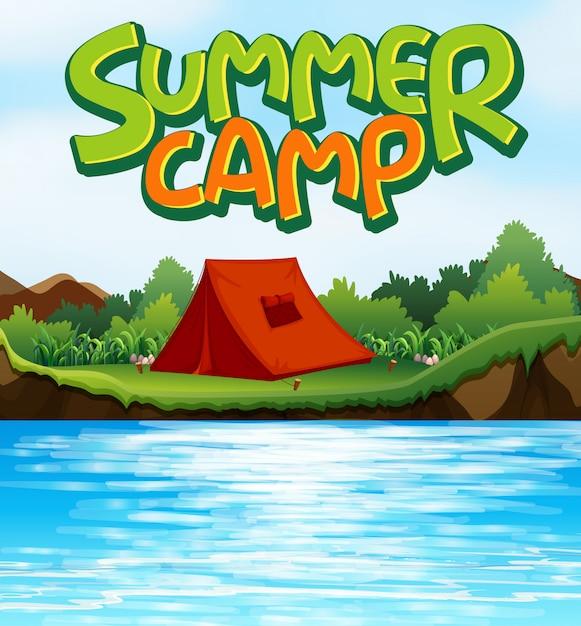 Fond De Scène Pour Mot Camp D'été Avec Tente Au Bord De La Rivière Vecteur gratuit