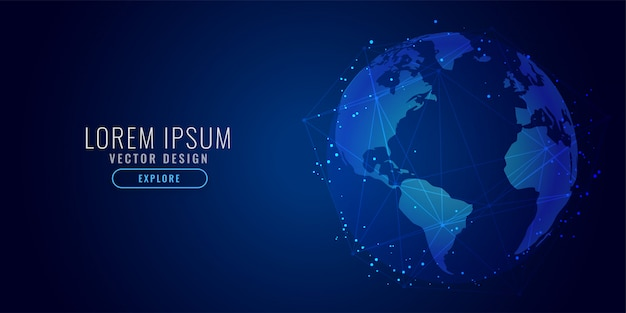 Fond De Science Numérique Concept Global De La Technologie Vecteur gratuit