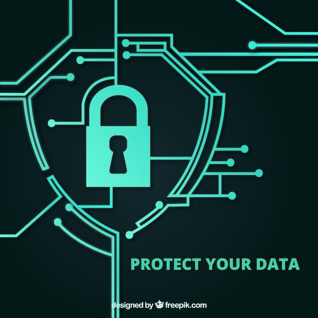Fond De Sécurité Avec Circuits Connectés Vecteur gratuit