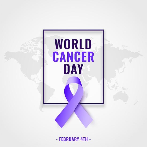 Fond De Sensibilisation à La Journée Mondiale Du Cancer Avec Ruban Réaliste Vecteur gratuit