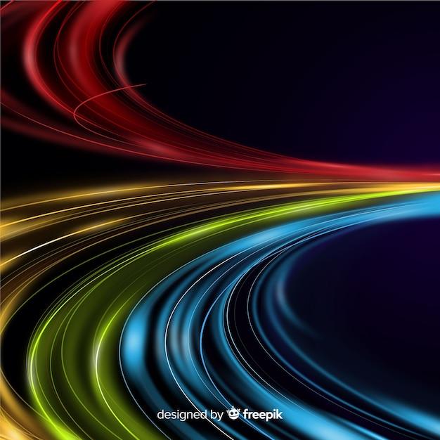 Fond de sentier lumineux coloré Vecteur gratuit