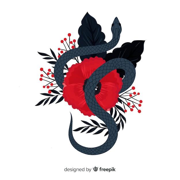 Fond de serpent dessiné à la main Vecteur gratuit