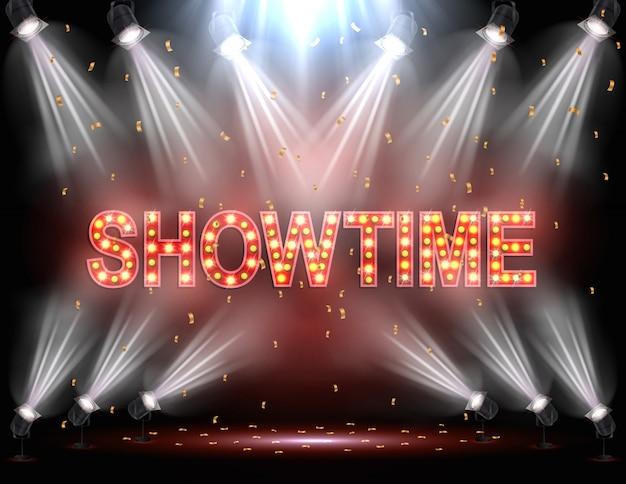 Fond showtime illuminé par des projecteurs Vecteur Premium