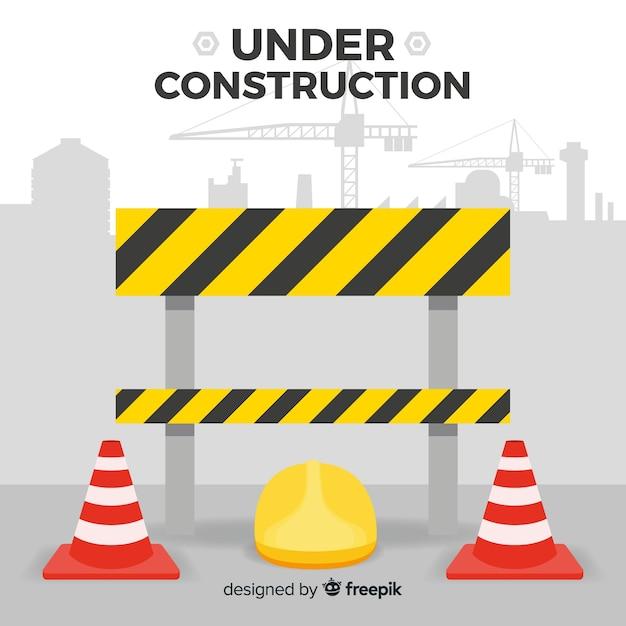 Fond de signe de construction avertissement plat Vecteur gratuit