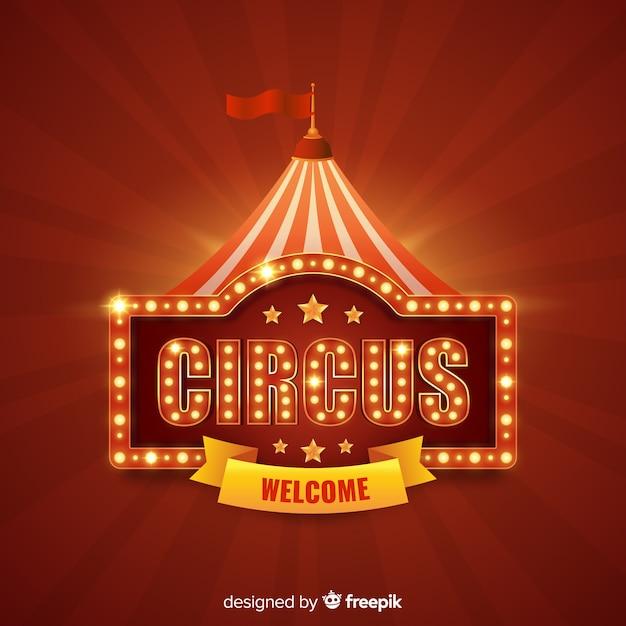 Fond De Signe De Lumière De Cirque Vintage Vecteur gratuit