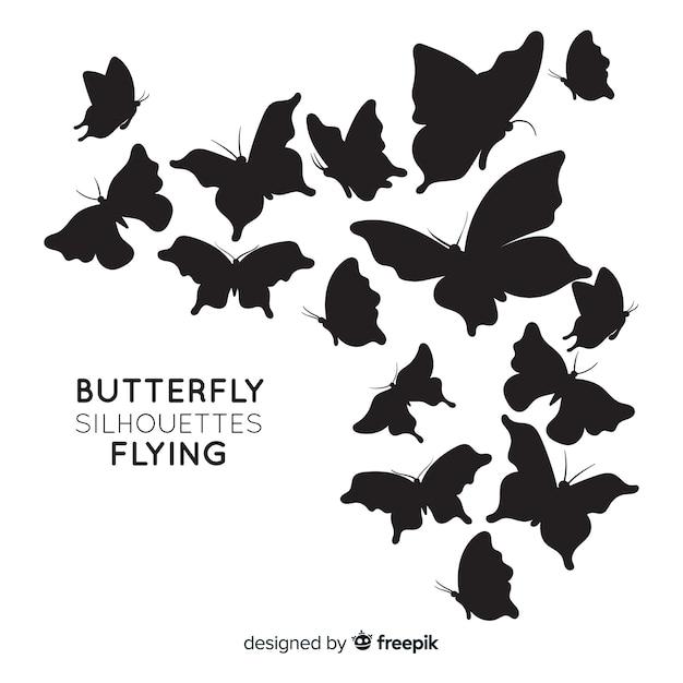 Fond de silhouettes de papillons Vecteur gratuit