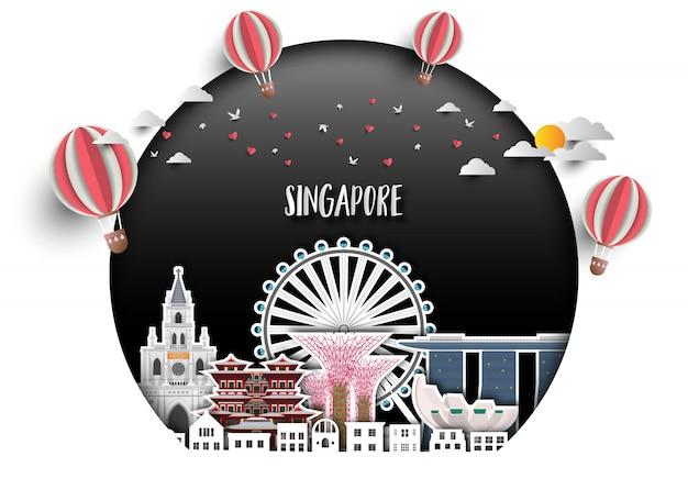 Fond de singapour Vecteur Premium