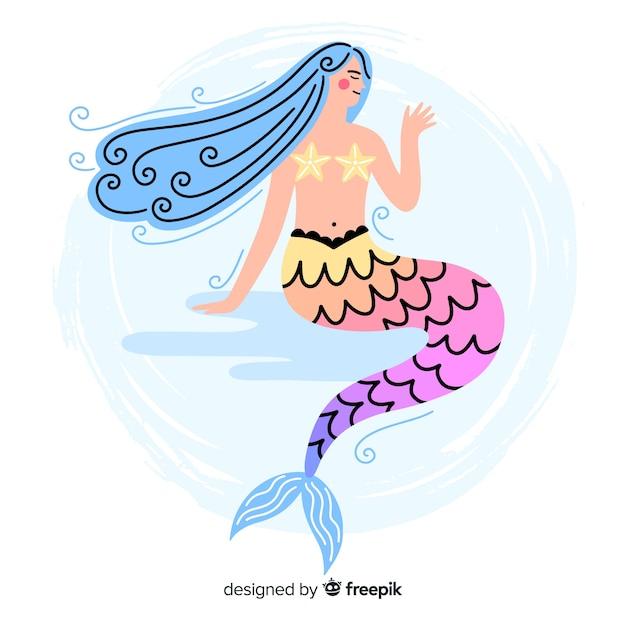 Fond de sirène coloré dessiné à la main Vecteur gratuit