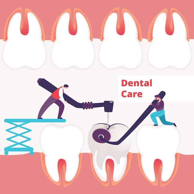 Fond de soins dentaires Vecteur Premium