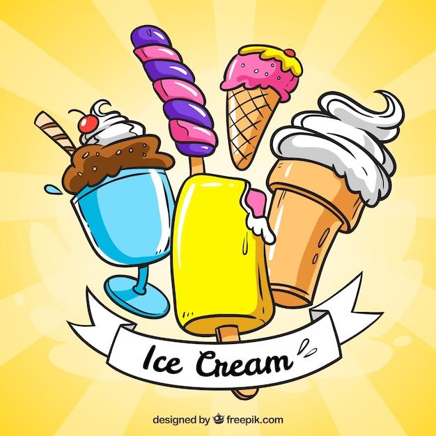 Fond de soleil avec des glaces savoureuses en style dessiné à la main Vecteur gratuit