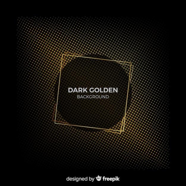 Fond sombre avec effet de demi-teinte doré Vecteur gratuit