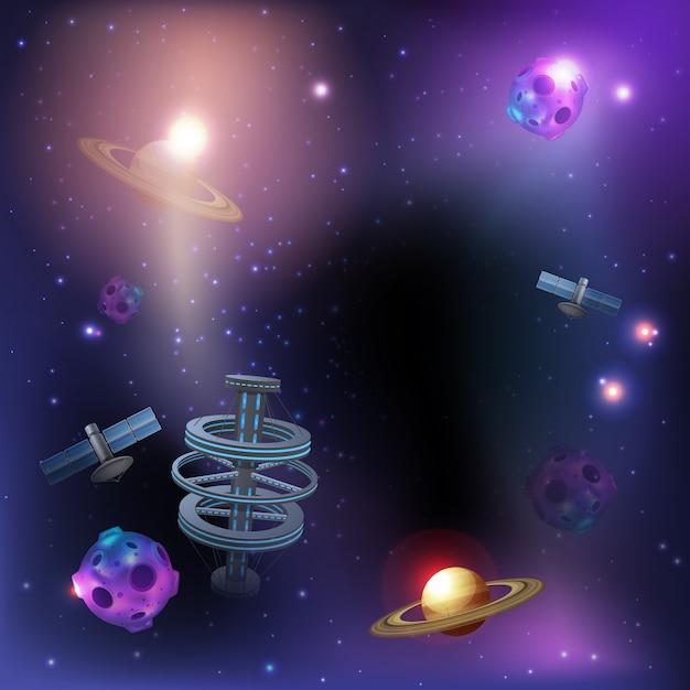 Fond Sombre De L'espace Vecteur gratuit