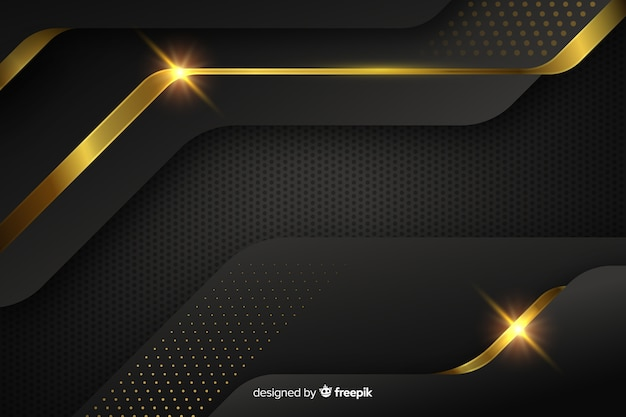 Fond sombre avec des formes abstraites dorées Vecteur gratuit