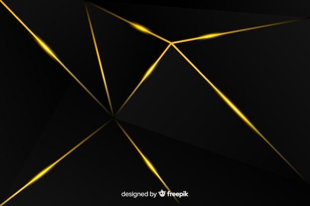 Fond sombre avec des lignes dorées Vecteur gratuit