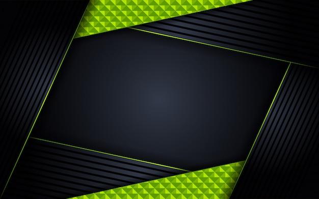Fond Sombre De Luxe Abstrait Avec Des Combinaisons De Lignes Vertes Vecteur Premium