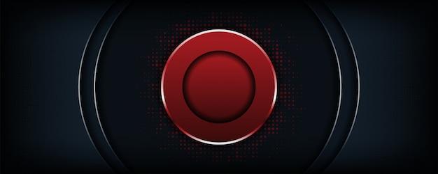 Fond Sombre Luxe Abstraite Avec Forme De Cercle Rouge Vecteur Premium