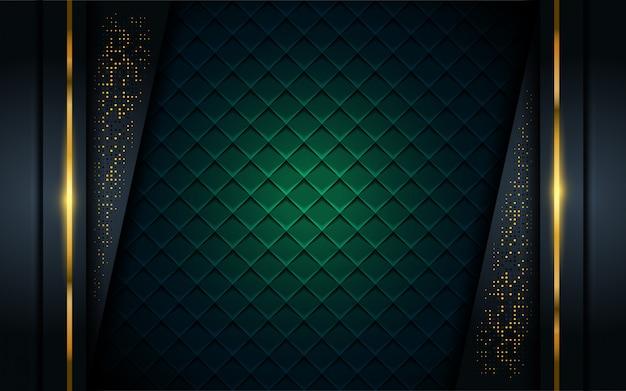 Fond sombre luxueux avec ligne dorée. Vecteur Premium