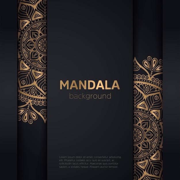 Fond sombre avec mandala fleur Vecteur gratuit