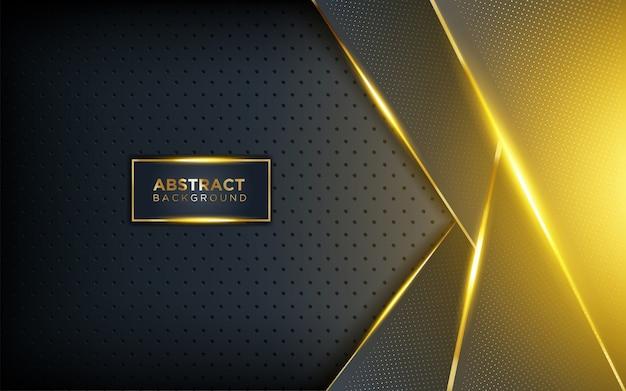Fond sombre moderne avec brillance, ligne dorée et paillettes Vecteur Premium