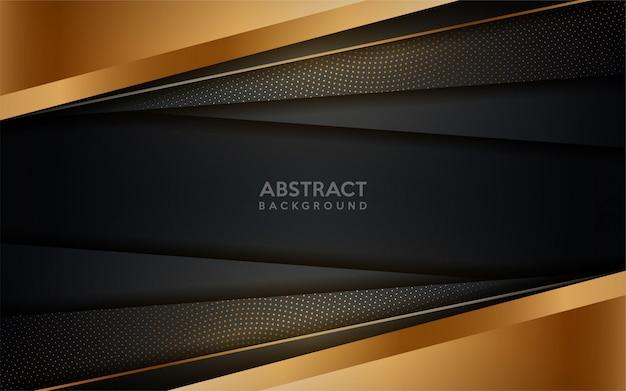 Fond sombre moderne brillant doré avec élément de points d'or. Vecteur Premium