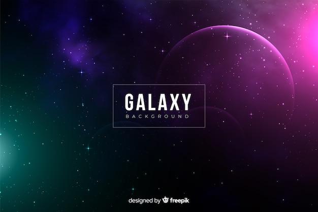 Fond sombre et réaliste de galaxie Vecteur gratuit