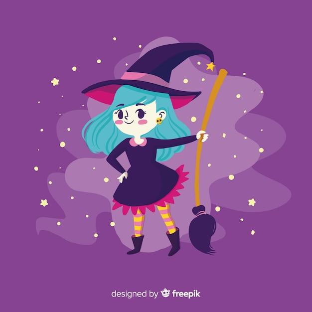 Fond de sorcière halloween Vecteur gratuit