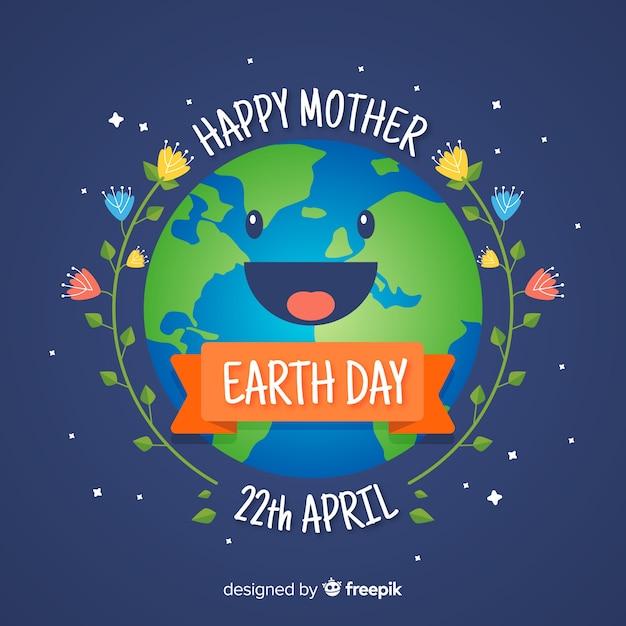 Fond souriant jour de la planète mère terre Vecteur gratuit