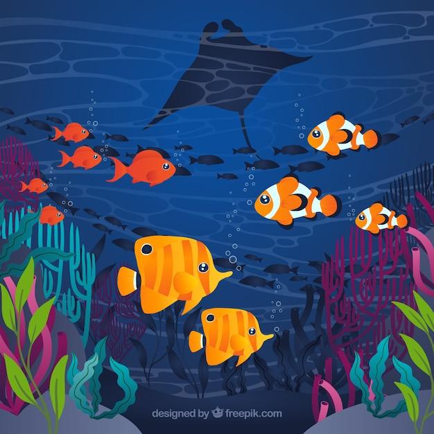 Fond sous l'eau avec des poissons colorés Vecteur gratuit