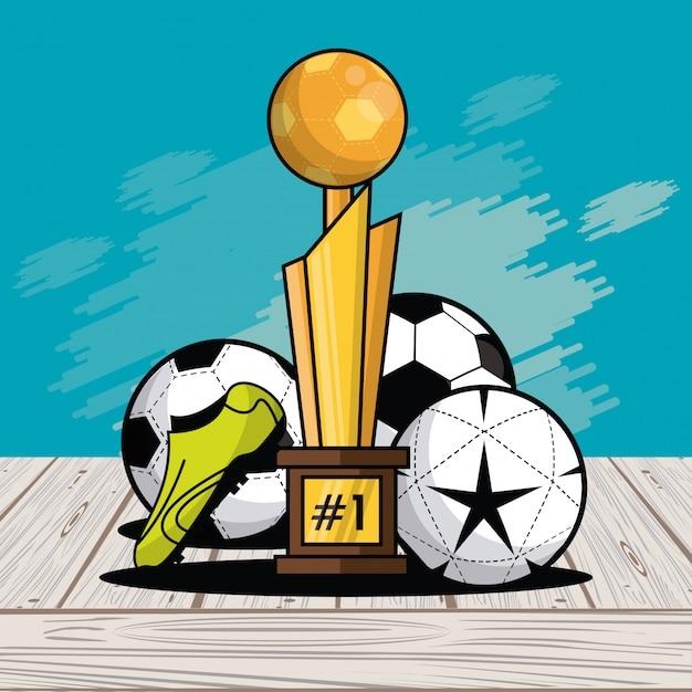 Fond de splash de carte de trophée équipement balles de sport Vecteur Premium