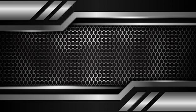 Fond de sport de luxe hexagone argent Vecteur Premium