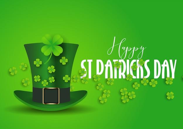 Fond st patrick's day avec chapeau haut de forme et shamrock Vecteur Premium