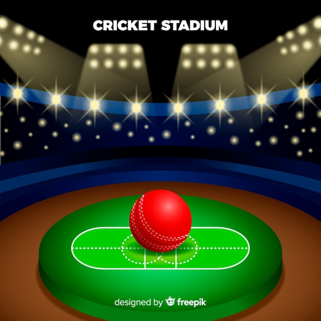 Fond de stade de cricket dans un style plat Vecteur gratuit