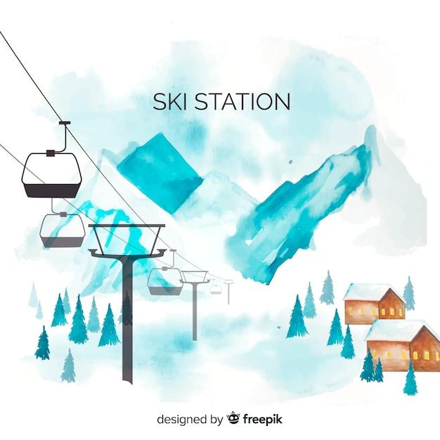 Fond de station de ski aquarelle Vecteur gratuit