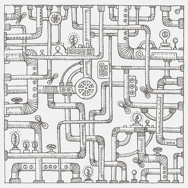 Fond De Steampunk Doodle Vecteur Premium