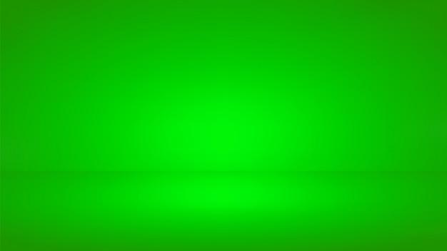 Fond de studio d'écran vert. salle vide avec effet de projecteur. Vecteur Premium