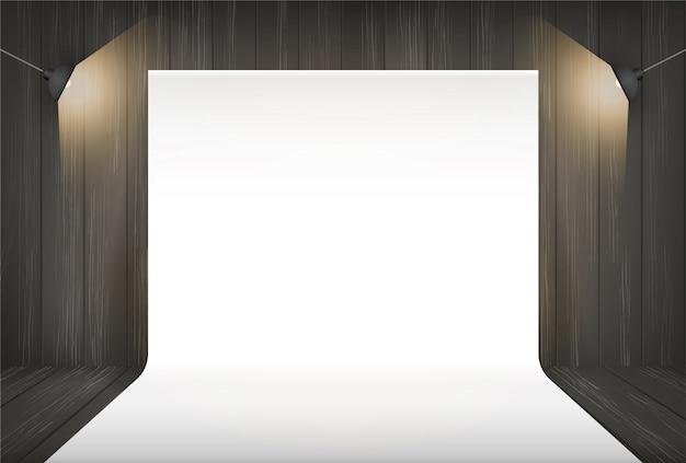 Fond de studio de photographie avec éclairage. Vecteur Premium