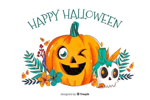 Fond de style aquarelle pour halloween Vecteur gratuit