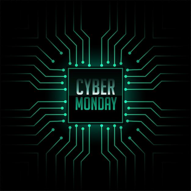Fond de style de circuit de technologie cyber lundi Vecteur gratuit