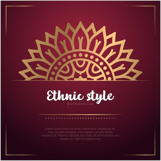 Fond De Style Ethnique Avec Mandala Et Modèle De Texte, Couleur Rouge Et Or Vecteur gratuit