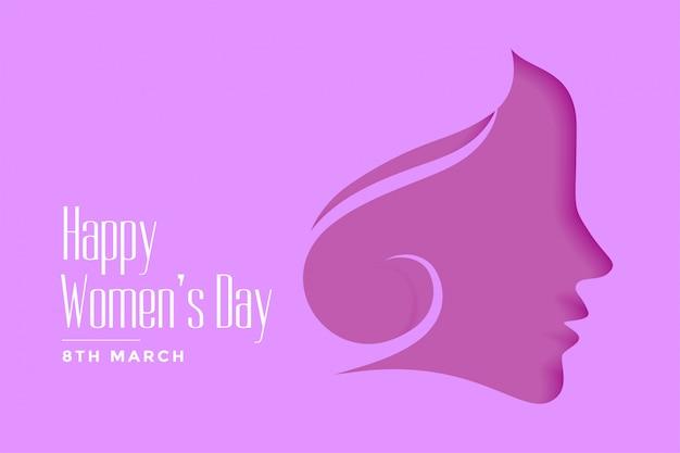 Fond De Style Papercut Violet Joyeux Jour Des Femmes Vecteur gratuit
