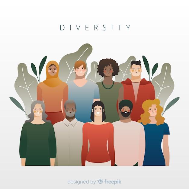 Fond De Style Plat Concept De Diversité Vecteur gratuit