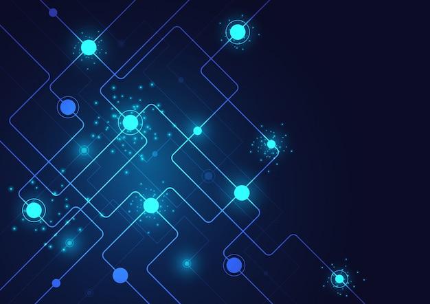 Fond de système géométrique et de connexion de haute technologie avec résumé de données numériques Vecteur Premium