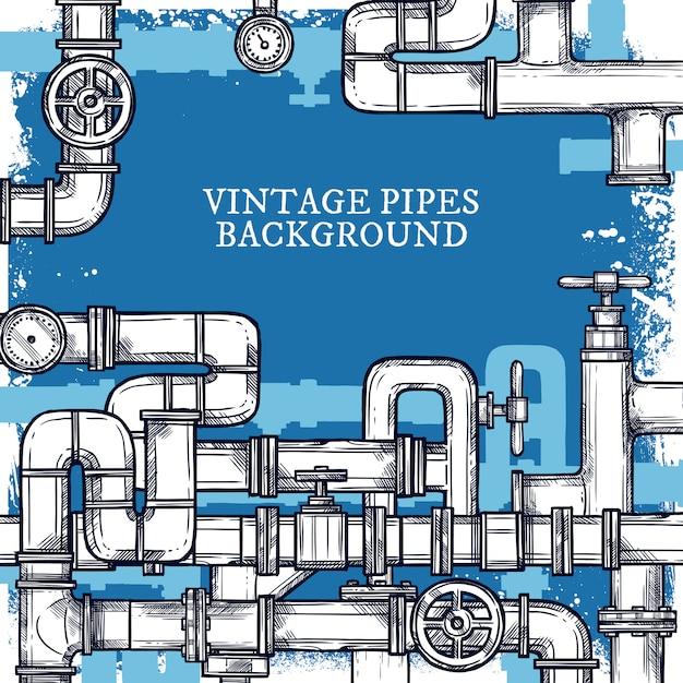 Fond de système sketch pipes Vecteur gratuit