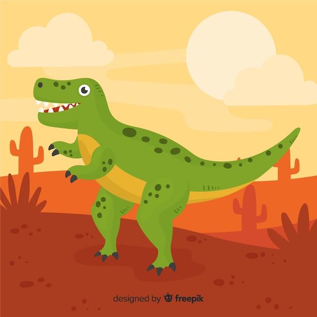 Fond de t-rex dessiné à la main Vecteur gratuit